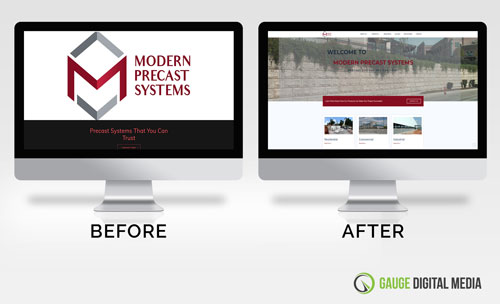 before and after photos of web design project